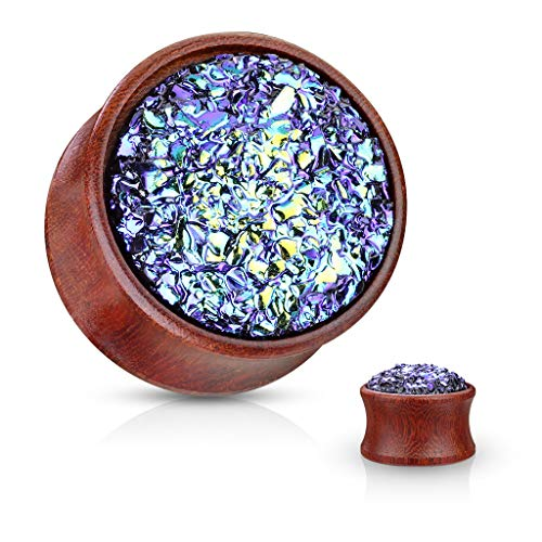 Inspiration Dezigns Pair Double Flared Natural Wood Plugs Blue Synthetic Druzy Stone (9/16