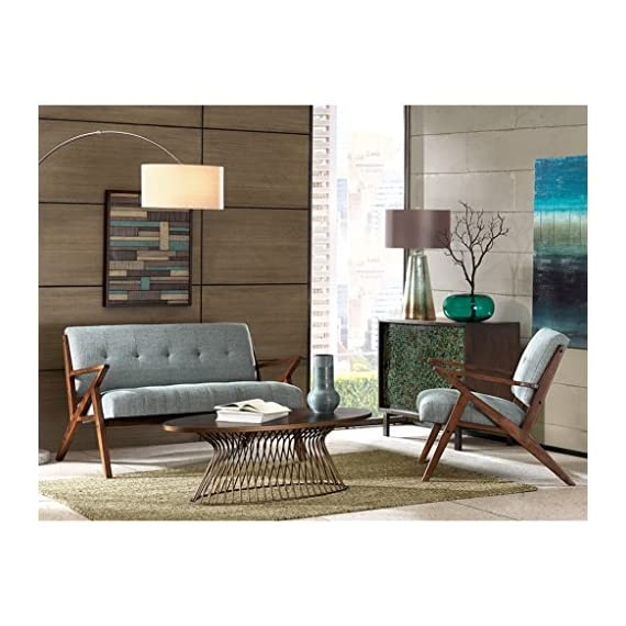 ModHaus Living Mid Century Modern Rocket Tufted Seafoam Upholstered Loveseat with Solid Wood Frame - Includes Pen - Inspired by the iconic 60's silhouettes with a modern twist of finishes and unique shapes gives an updated look. Refresh and add to your mid century decor. Assembly required. Measurement: 54 x 31.5 x 33 inches. Includes: 1 Loveseat. Floor to Seat Height: 18 in. Item Weight: 60.63 lbs. - sofas-couches, living-room-furniture, living-room - 51TNCrQScLL. SS570  -