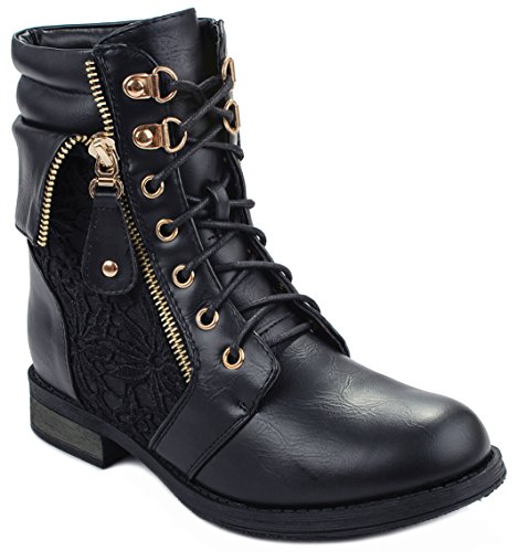 Sevilla66 Lace Up Leatherette Crochet High Top Ankle Cuff Motorcycle Bootie Boots - stylishcombatboots.com