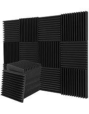 12-pack akustiska skumpaneler, ljudisolerande studioskum, kilplattor, brandsäkra, idealiska för ljudisolering i hem och studio 30 x 30 x 2,5 cm