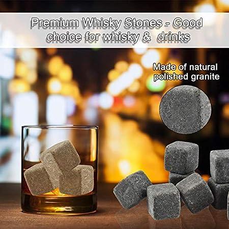 Whisky Piedras ,Whisky Rocks,Cubitos hielo granito para enfriar bebidas,Regalo Piedras Whisky Set,cubitos de hielo reutilizables,9 Piedras+Caja Madera+Bolso Franela+Alicates,regalo ideal para hombres