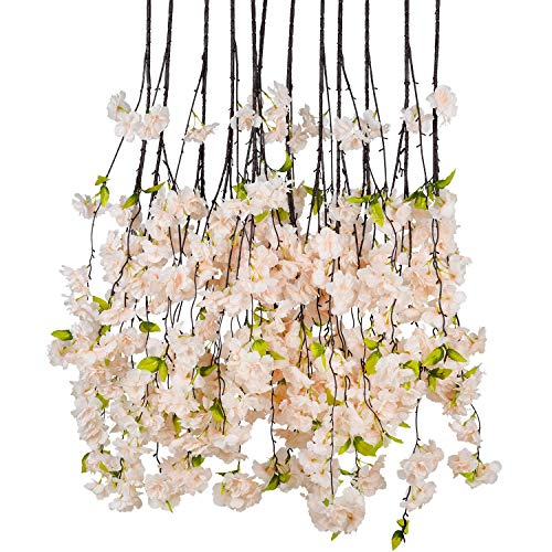 (DearHouse 6 Pack Cherry Blossom Artificial Flowers Garland Hanging Vine Silk Garland Wedding Party Home Decor )