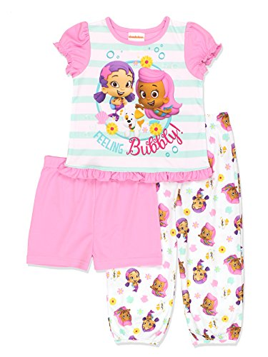 Bubble Guppies Toddler Girls 3 piece Shorts Pajamas Set (2T, Pink/White) by Nickelodeon ()