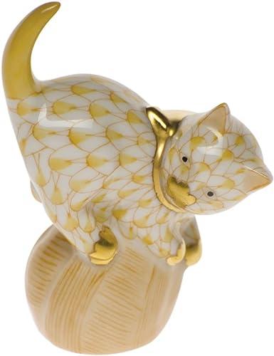 Herend Mischievous Cat Figurine Butterscotch Fishnet