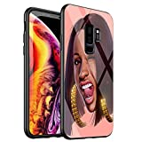 Phone Case for Samsung Galaxy S9,Tempered Glass Back Cover for Scratch and Fall Resistance DT-33 Cardi B Drawing