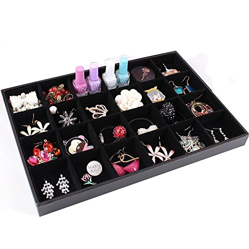 (Wuligirl 24 Grid Velvet Jewelry Tray Showcase Display Organizer Storage Bracelet Watch Ring Earring Necklace (24 Grid))