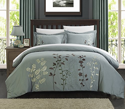 Chic Home 3-Piece Kaylee Floral Embroidered Duvet Set, King