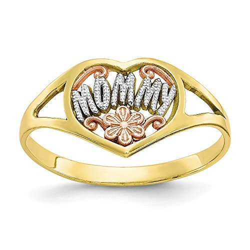 10k Two Tone Yellow Gold Mommy Heart Band Ring Size 7.00 S/love Fine Jewelry Gifts For Women For Her