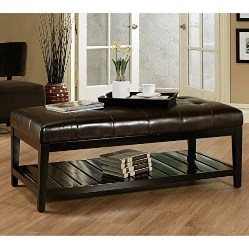 Bistro Coffee Tables Leather Ottoman Rectangle Wood Cocktail Living Room End Table Modern Furniture (Ottoman Coffee With Leather Shelf Table)