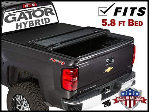 Gator Hybrid Hard Folding (fits) 2014-2018 Chevy Silverado GMC Sierra 5.8 FT Bed Only Hard w/Soft Looks Tonneau Truck Bed Cover (GHF0132) Made in The USA
