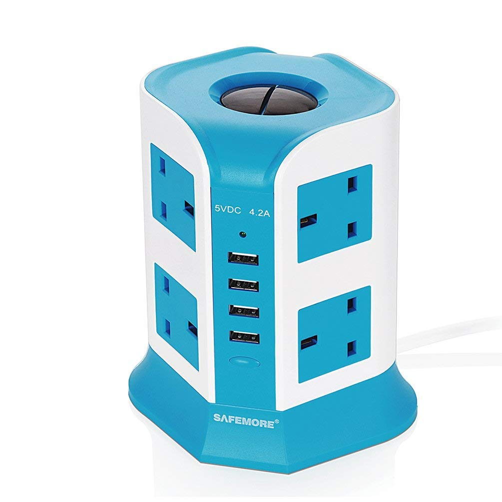 SAFEMORE Plug Extension 8 Way Outlet Surge Protector Extension Cable Tower Power Strip With 4 USB Charging Ports (5V/4.2A) Station USB Extension Lead Switch With Overload Protection , 6.5FT Power Cord(4 USB 8 AC White+Blue)