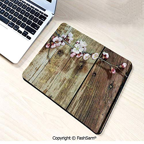 Desk Mat Mouse Pad Stained Walnut Branch with Soft Twiggy Swirling Flower Leaves Concept for Office(W9.85xL11.8)