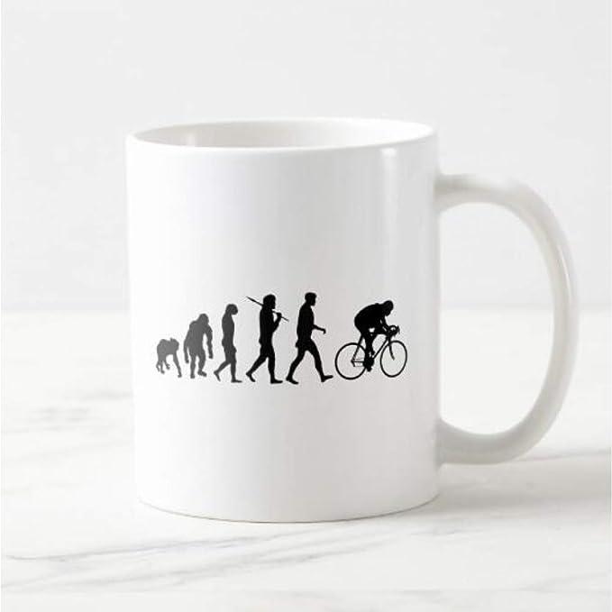 Erjialiu Evolución de la Bicicleta de montaña Taza de café Cerveza Taza de té Regalos de Ciclismo para Ciclistas de Deportes al Aire Libre Divertidos Regalos,Blanco: Amazon.es: Deportes y aire libre