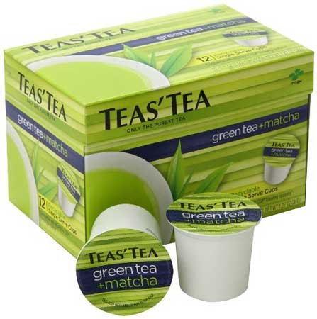 Teas' Tea Green Tea Plus Matcha, Single Serve Cups 12 Count