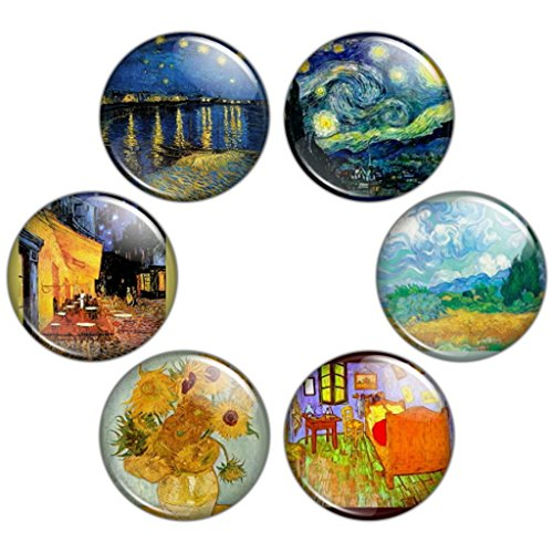 Button Bistro Men's Vincent van Gogh Painting 1.25 inch Pinback Button Set (Gogh Set)