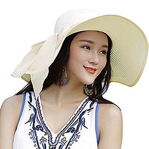 Womens Big Bowknot Straw Hat Floppy Foldable Roll up Beach Cap Sun Hat UPF 50+ White