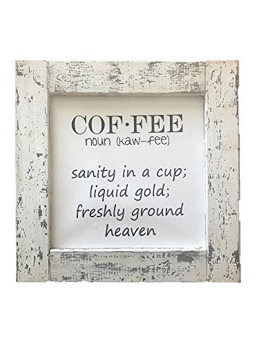 "Off-White And Grey Distressed Framed Canvas, Coffee Definition, 16"" x 16""."