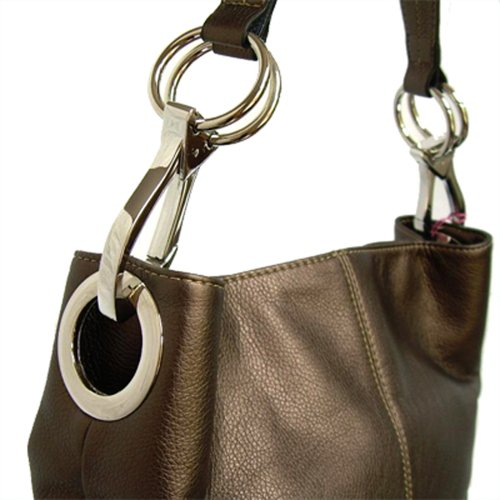 Classic Medium Shoulder Handtasche silbernen Schnallen, Italien Metallic Brown