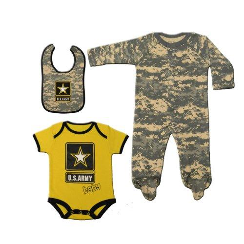Army Bib (3pc Set Army ACU Camo & Yellow Baby Sleeper, Bodysuit & Bib 6-9)