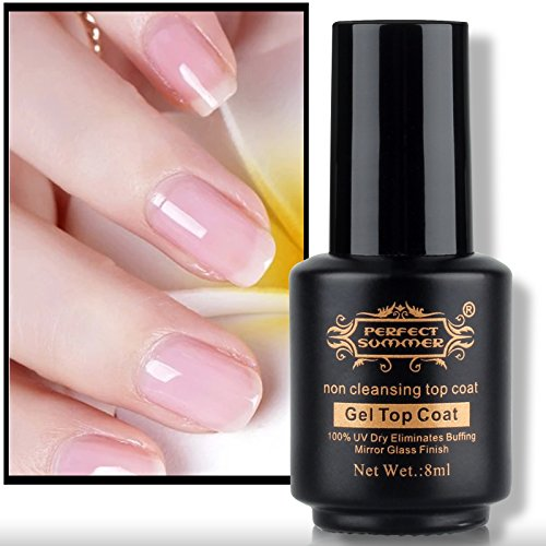 Perfect Summer Non Cleansing TOP COAT Non Sticky TOP Gel For Gel Nail Polish CLEAR Color Super Shiny Glossy 8ML