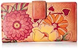 Anuschka Handpainted Leather Two Fold Summer Bloom Wallet, Summer Bloom, One Size
