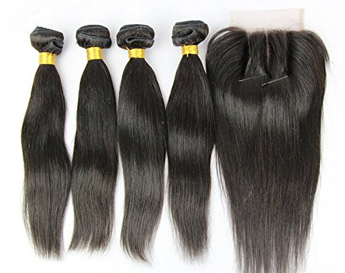 DaJun Hair 7A 3 Part Closure With Bundles Straight Chinese Virgin Weave Hair Bundle Deals 3Bundles And Closure Natural Color 8''closure+14''14''14''weft by DaJun
