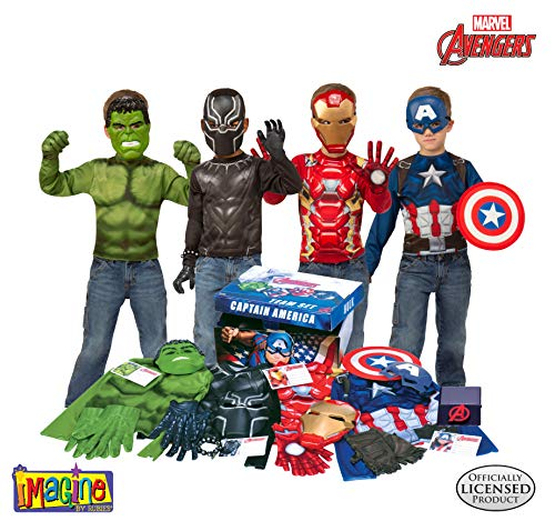 Family Dress Up Ideas For Halloween (Imagine by Rubie's Marvel Avengers Play Trunk with Iron Man, Captain America, Hulk, Black Panther Costumes/Role Play Amazon)