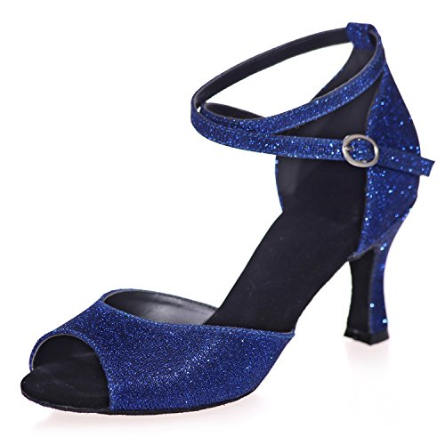 Elobaby 7 Peep Latin Seta Salsa Fibbia 5cm Pompe Scarpe Jazz da Glitter Ballo Tacco Blue da Donna A8349 Toe Satinata di aaAqr