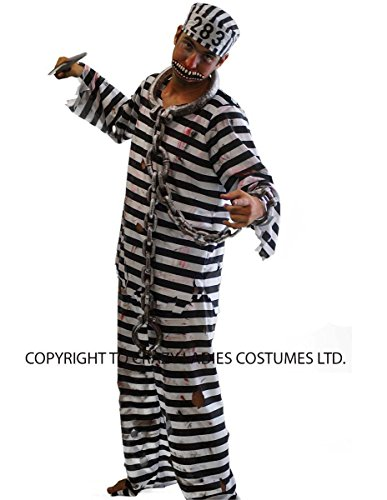 CL COSTUMES Halloween-Creepy-Scary-Prisoner Zombie Convict (3) Men's Fancy Dress Costume - From Sizes SMALL-4XL (XXL)