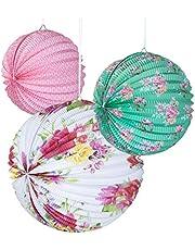 أطباق فوانيس ورقية بتصميم زهور لحفلات الشاي من شركة تاكينج تيبلز، مناسبة لأعياد الميلاد، حفلات الزفاف، حفل استقبال المولود، 3 مقاسات، عبوة من 3 قطع، ألوان الباستيل، الموديل: