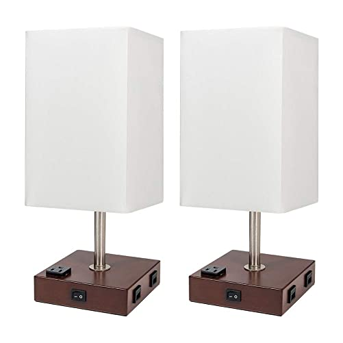 DEEPLITE Lamps for Bedrooms Set of 2, Bedside Lamp with USB Port and Outlet, Wood Nightstand Lamp with White Shade, Rustic Lamps for Living Room, Night Table, End Side Table Top