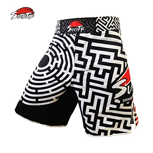 SUOTF Black And White Geometric Maze Fitness Pants Muay Thai Boxing Ultra-thin Breathable Tiger Muay Thai MMA Kickboxing Shorts