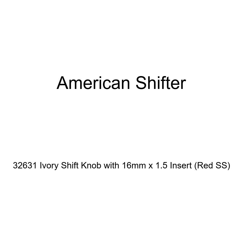 American Shifter 32631 Ivory Shift Knob with 16mm x 1.5 Insert Red SS