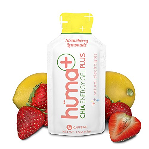 Huma PLUS - Chia Energy Gel, Strawberry Lemonade, 24 Gels, 1x Caffeine - Natural Electrolyte Enhanced Energy Gel