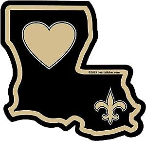 Heart in Louisiana Sticker Gold Fleur-de-lis | State-Shaped Label | Apply to Phone Water Bottle Decal Laptop Cooler Bumper | New Orleans Saint Sticker Fan Nola Pelican Tulane Wave Cajun LSU Who Dat