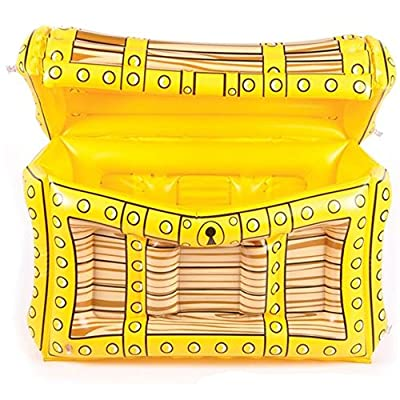Kidsco Pirate Treasure Chest Inflatable Cooler - 2'X17 X13 Party Accessory for Kids Birthday, Halloween, Pool Games, Outdoor Activities, Event Decor, Drink Container - Water, Soda, Juice, Beer