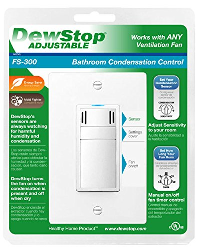 Amazon com  DewStop FS 300 W1 Adjustable Bathroom Fan Control Switch  White  Home Improvement. Amazon com  DewStop FS 300 W1 Adjustable Bathroom Fan Control