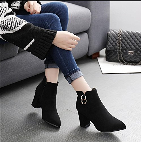 Thick Boots Women Plus Zip Plush 37 New Boots Drill Boots Side High Tip Velvet And Cotton The Heeled 8Cm Winter Short Moisture Korean The Of Version KHSKX Black TU0qvOw