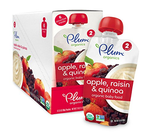 Plum Organics Stage 2, Organic Baby Food, Apple, Raisin and Quinoa, 3.5 ounce pouch (Pack of 12)