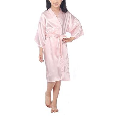 cdad92c716 Waymoda Kids Luxury Silky Satin Evening Dressing Gown
