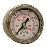 Winters PFQ Series Stainless Steel 304 Dual Scale Liquid Filled Pressure Gauge with Brass Internals, 0-160 psi/kpa 1-1/2