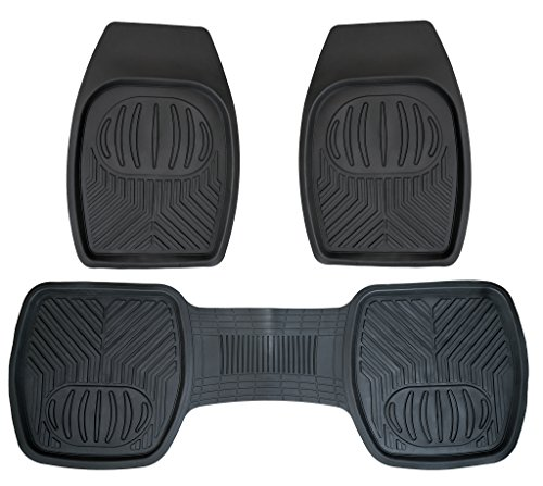 Drisen Heavy Duty All Season Deep Dish 3 Piece Rubber Floor Mats for Cars SUV & Trucks (Black)