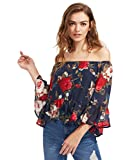 Floerns Women's Casual Floral Off Shoulder Chiffon Blouse Top Navy S