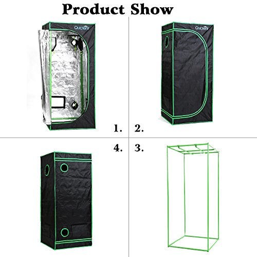 """51TNIbsjBnL - Quictent SGS Approved Eco-friendly 32""""x32""""x63"""" Reflective Mylar Hydroponic Grow Tent with Heavy Duty Anti-burst Zipper and waterproof Floor Tray for Indoor Plant Growing"""