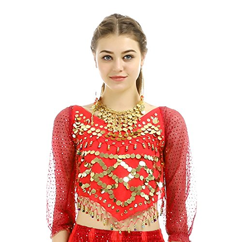 [iMucci Belly Dance Sequins Long Sleeve India Dancewear Costume Red] (Sequin Tinker Bell Adult Costumes)