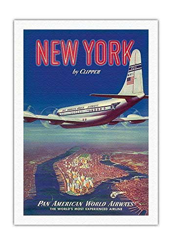 QFDH 8in x 12in Vintage Metal Tin Sign - New York USA by Clipper - Boeing 377 Over Manhattan Island - Pan American World Airways ()