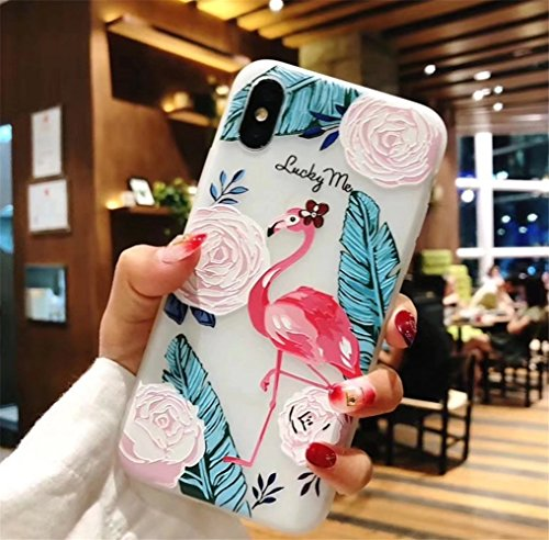 iPhone X Case,iPhone 10 Case,3D Printed Beautiful Flower Pattern Case, YOLOFTW Ultra Thin Flexible Soft Rubber Protective Phone Case Cover for iPhone X (Flamingo)