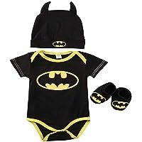 3 Unids Ropa Bebe Verano BEB¨¦S Reci¨¦N Nacidos Bebe Ni?Os Batman Mamelucos Zapatos Trajes De Sombrero Ropa Set BEB…