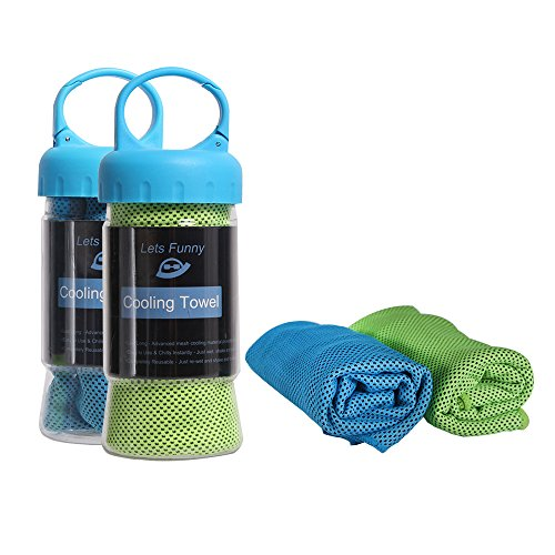 Cooling Towel - LetsFunny Cooling Towels for Sports, Fitness, Gym & Yoga, Cooling Scarves, Ice Bandana ,Fast Drying Towel with Hooked Barrel (Blue)