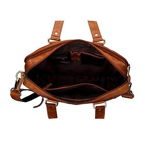 Finelaer Leather Laptop Computer Messenger Zipper Bag Brown with Trolley Sleeve for Men Women by FINELAER (Image #3)